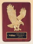 Rosewood Piano Finish Plaque with Gold Eagle Casting Employee Awards