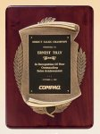 Rosewood Piano Finish Plaque with Antique Bronze Casting Employee Awards