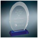 Oval Halo Glass Award With  Blue Base Employee Awards