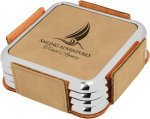 Leatherette Square Coaster Set with Silver Edge -Light Brown  Employee Awards