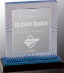 Blue Carved Rectangle Impress Acrylic Employee Awards