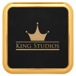 Leatherette Square Coaster with Gold Edge -Black Employee Awards