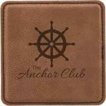 Leatherette Square Coaster -Dark Brown Employee Awards
