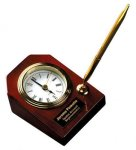 Piano Finish Rosewood Desk Clock with Pen Employee Awards