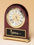 Rosewood Piano Finish Desk Clock on a Brass Base Golf Awards