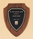 American Walnut Shield Plaque with a Black Brass Plate Golf Awards