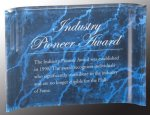 Blue Marbleized Acrylic Crescent Awards Marble Awards