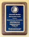 Walnut Stained Piano Finish Plaque with Brass Plate Marble Awards
