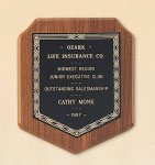 American Walnut Shield Plaque with a Black Brass Plate. Patriotic Awards