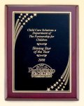 Rosewood Piano Finish Plaque with Brass Plate Patriotic Awards